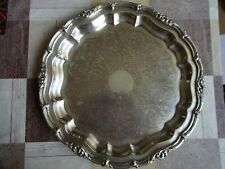 More details for vintage silver plated on copper chased & embossed large round tray diameter 40cm