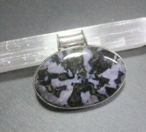 Natural, Indigo Gabbro (Mystic Merlinite) Gemstone Pendant,  - 925 Stamped