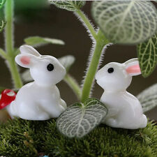 10pcs Cute Mini Rabbits Fairy Garden Terrarium Figurine Decor Diy Bonsai Craft