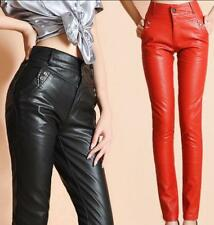 Fashion Pu Leather High Women's Waist Slim Straight Legs Pants Casual Trousers
