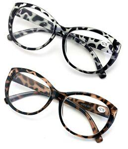 Oversize Women Reading glasses - Magnified Readers Cateye Vintage Jackie Leopard