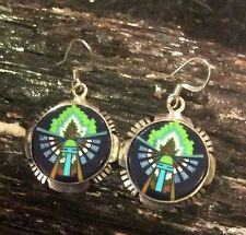 -Last Chance- Native American Micro Inlay Sterling Lapis Yei Navajo Earrings
