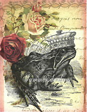 *QUILT ART FABRIC BLOCK*FROG PRINCE ON FRENCH PAPER ROSES 5X7 INCHES