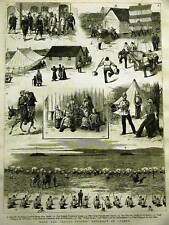 ROYAL SUSSEX REGIMENT IN CYPRUS 1882 Antique Art Matted