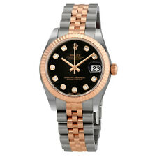Rolex Datejust 31 Black Diamond Dial Ladies Steel and 18kt Everose Gold Jubilee