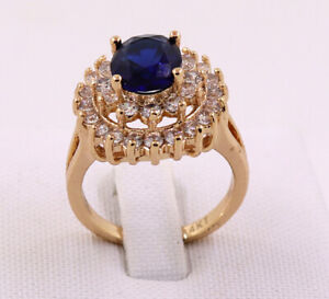 New Pretty Jewellery Natural 3.22ct Sapphire 14k Solid Yellow Gold Ring Size 7#