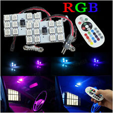 2x Car LED Panel RGB Mutli Color W/ Contro Interior Map Dome Door Light T10 31mm