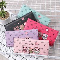Women Fashion Owl Printing Long Wallet Coin Purse Card Holders Handbag Tote MA