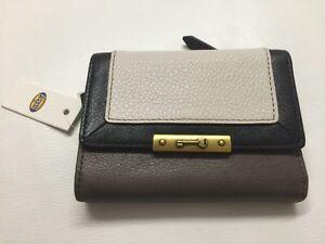 NWT Fossil Knox PW Flip Ladies Wallet. White Multi. SL4803189