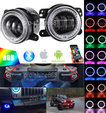 """4"""" 30W CREE LED Bluetooth Fog Light with RGB Halo Angel Ring For Jeep Wrangler"""