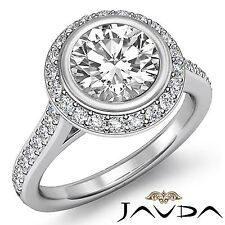 1.8ct Halo Pave Bezel Set Round Diamond Engagement Ring GIA F VS2 14k White Gold