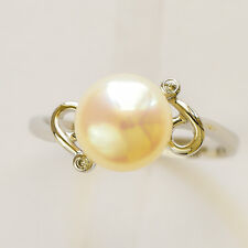 PEARL RING 8.75mm CULTURED PEARL GENUINE DIAMONDS REAL 14K WHITE GOLD SIZE M NEW