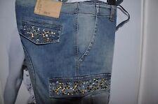 """Boyfriend donna jeans blu scolorito """"DENNY ROSE"""", dettagli metallici & Cristallo M"""