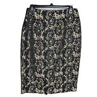 Worthington Women's Size 8 Pencil Skirt Gold Black Jacquard Printed