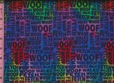1/2 Yard Cotton FLANNEL Jeweltone Tie Dye Dog Words WOOF Walk  BTHY