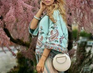 Zara Kimono Veste Broderie Florale Franges Brodé Veste Frange S M L XL