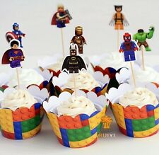 24 PCS LEGO AVENGERS CUPCAKE TOPPERS & LEGO WRAPPERS / BIRTHDAY KIDS SUPERHERO