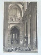 CATHEDRALE DE NANTES Vue Félix Benoist Lithographie GRANDE GRAVURE ANCIENNE 1850