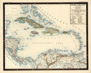 1851 Map West Indies and Central America Caribbean Wall Poster Vintage History