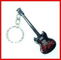 AC/DC GUITARE MINIATURE PORTE CLE! Angus Young Red SG Logo Rock Metal Hard Heavy