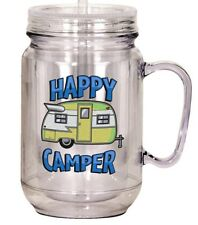 Mason Jar Happy Campers Mug Double Wall Twist On Lid Straw 16 Ounce Plastic NEW