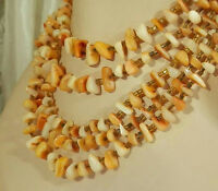 XXX Pretty Vintage 50's Art Deco Peach Mother Of Pearl Strand Necklace 223O5