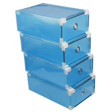 Andux Plastic Storage Foldable Clear Shoe Box Stackble with Drawer CTXH-01 Blue