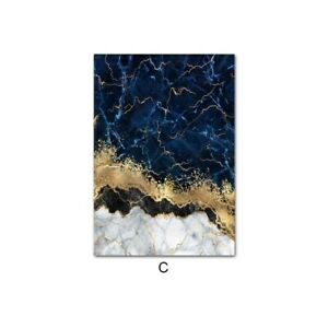 Blue Golden Marble Canvas Poster Abstract Art Print Nordic Home Room Decoration