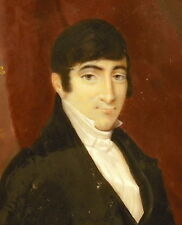 Homme élégant signé Des.t Martin miniature XIX ème sur plaque de cellulose