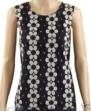 NEW F&F Black & Grey Sleeveless Summer Floral Casual Lace Vest Top Size 10-20