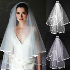 2t White Ivory Wedding Bridal Veil Satin Edge Comb Elbow Simple Cathedral
