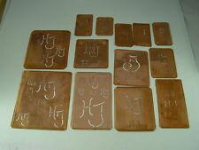 13 x HJ alte Merkenthaler Monogramme, Kupfer Schablonen, Stencils,Patrons broder