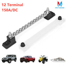 150A 12 Terminal Bus Bar Ground Distribution Block Panel Studs w/Cover UTV Truck