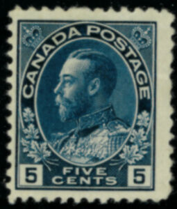 Canada  Stamps #111 mnh blue 5 cent FVF
