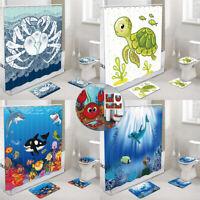 Sea Cartoon Bathroom Shower Curtain Toilet Cover Mat Non-Slip Rug Set Waterproof