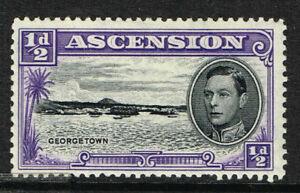 """ASCENSION 1944 KG VI ½d BLK & BLUE-VIOLET """"LONG BAR TO E"""" VARIETY LMM SG 38ba"""