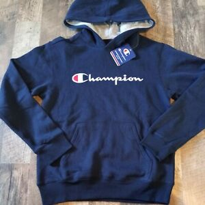 Champion Embroidered Signature Hoodie Youth Boy's Size M Medium Blue