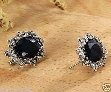 1 pair Fashion Woman's Black Crystal Rhinestone Long Ear Stud Hoop earrings 170