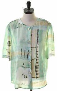 VINTAGE Womens Shirt Short Sleeve UK 12 Medium Multicoloured Viscose ET20