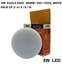 8W LED GX53 from £2.45 ECOLA Replace CFL Bulbs Light Pack 2-10 WARM/DAY/COOL