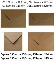 "Brown Ribbed Kraft Envelopes C5 C6 C7 DL 6""x6"" 5""x5"" 5""x7"" Square Envelope"