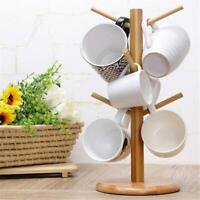 Cup Coffee Wooden Mug Tree Stand Cup Hanging Rack Holder Kitchen Tidy Storage C