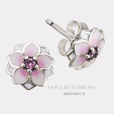 Authentic Pandora Sterling Silver Magnolia Blooms Enamel Stud Earrings 290739PCZ