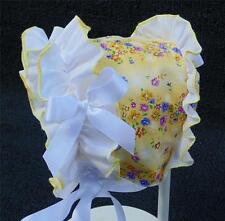 Light Yellow Floral Print and White Ruffle with Satin Ribbon Baby Summer Bonnet