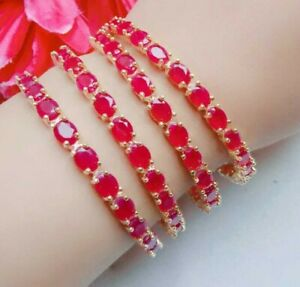 Royal Bollywood Indian Costume Jewelry Red Bridal AD Bangles Bracelet Fashion