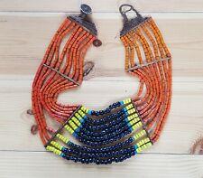Antique Konyak Naga 9 String Necklace - Nagaland - Various Glass Beads