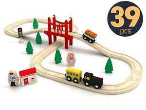 Toy Train Set - 39pcs Wooden Train Set - Wooden Track & Train Pack Fits Thomas