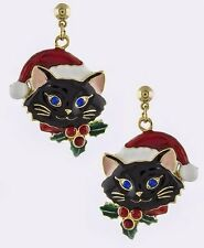 CHRISTMAS KITTY CAT WEARING SANTA HAT HOLLY BERRY ON COLLAR  DANGLE EARRING