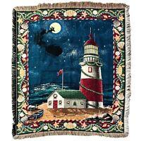 Crown Crafts Woven Throw Blanket Santa Lighthouse Beach Christmas Shells Night