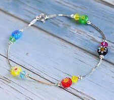 925 Sterling Silver Millefiori Murano flowers Multicoloured Crystal Bracelet